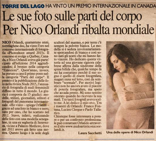 Nico Orlandi fotografo articolo di giornale